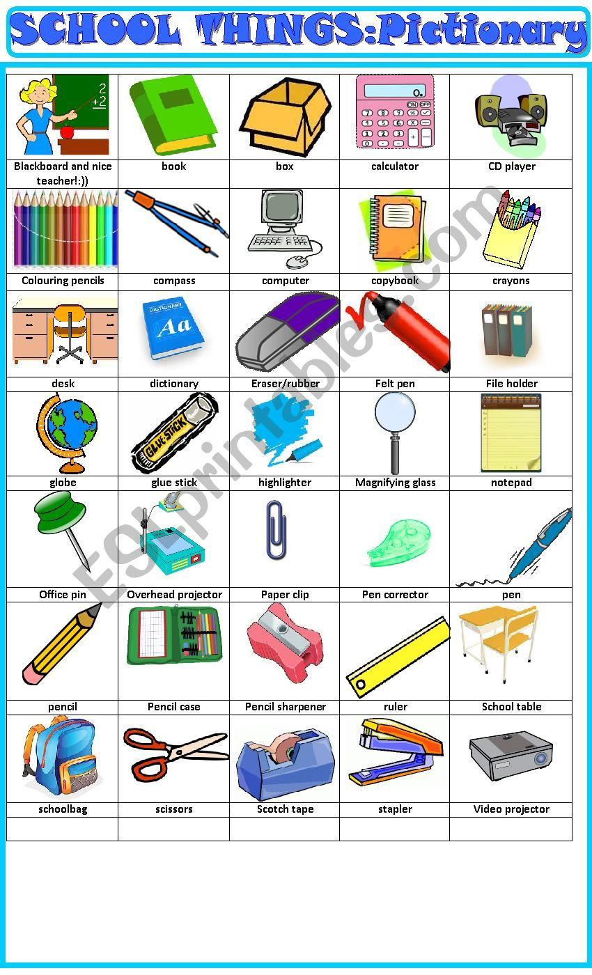 School things , pictionary worksheet