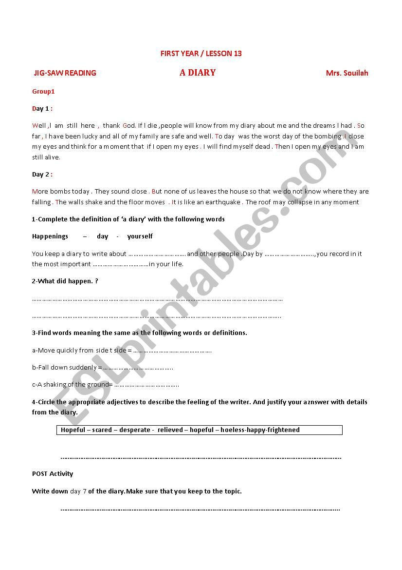 lesson13 first year A DIARY worksheet