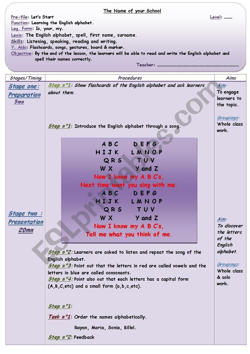 Lesson Plan - The English Alphabet
