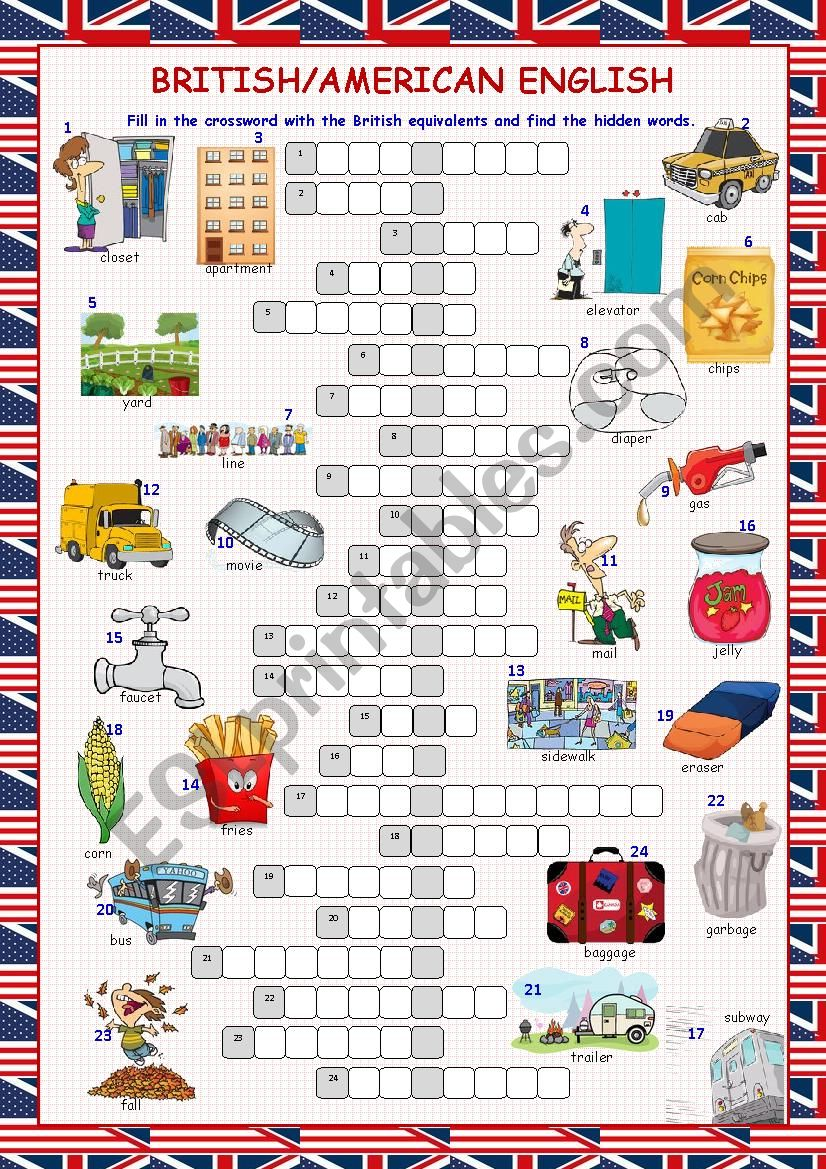 British/American English Crossword Puzzle