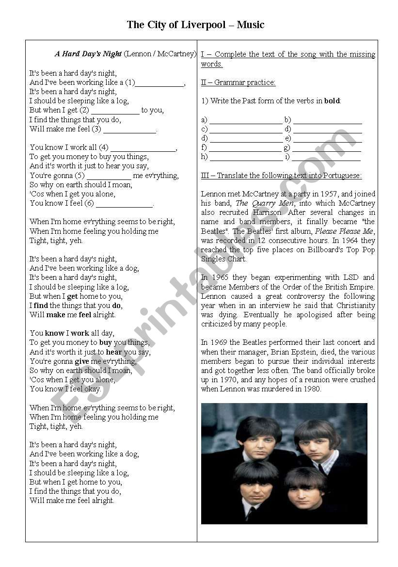 The Beatles and Liverpool worksheet