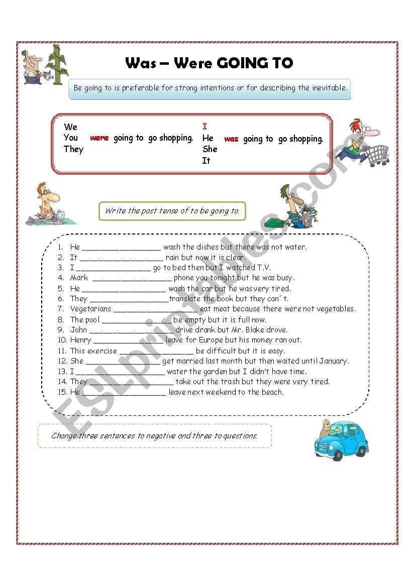 Going to past (was-were) worksheet