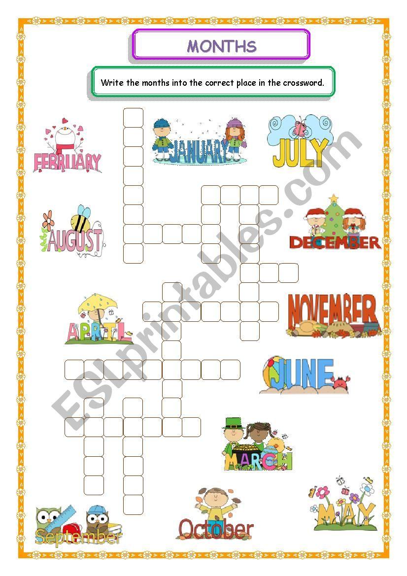 Months Crossword worksheet