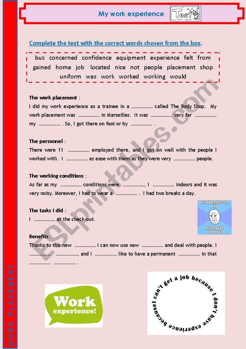 (Work Placement) My work experience TEST 5/8