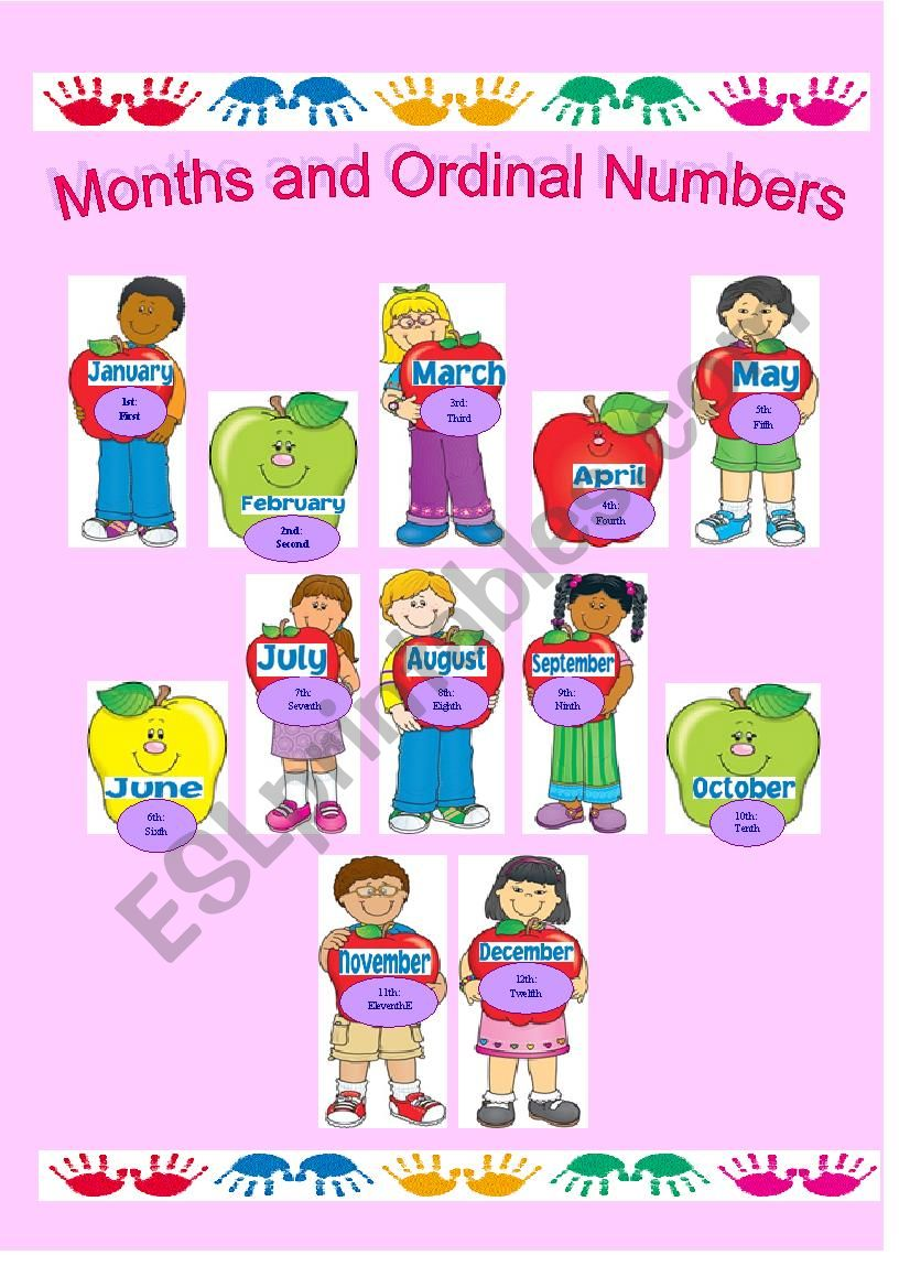 Months of the Year and Ordinal Numbers
