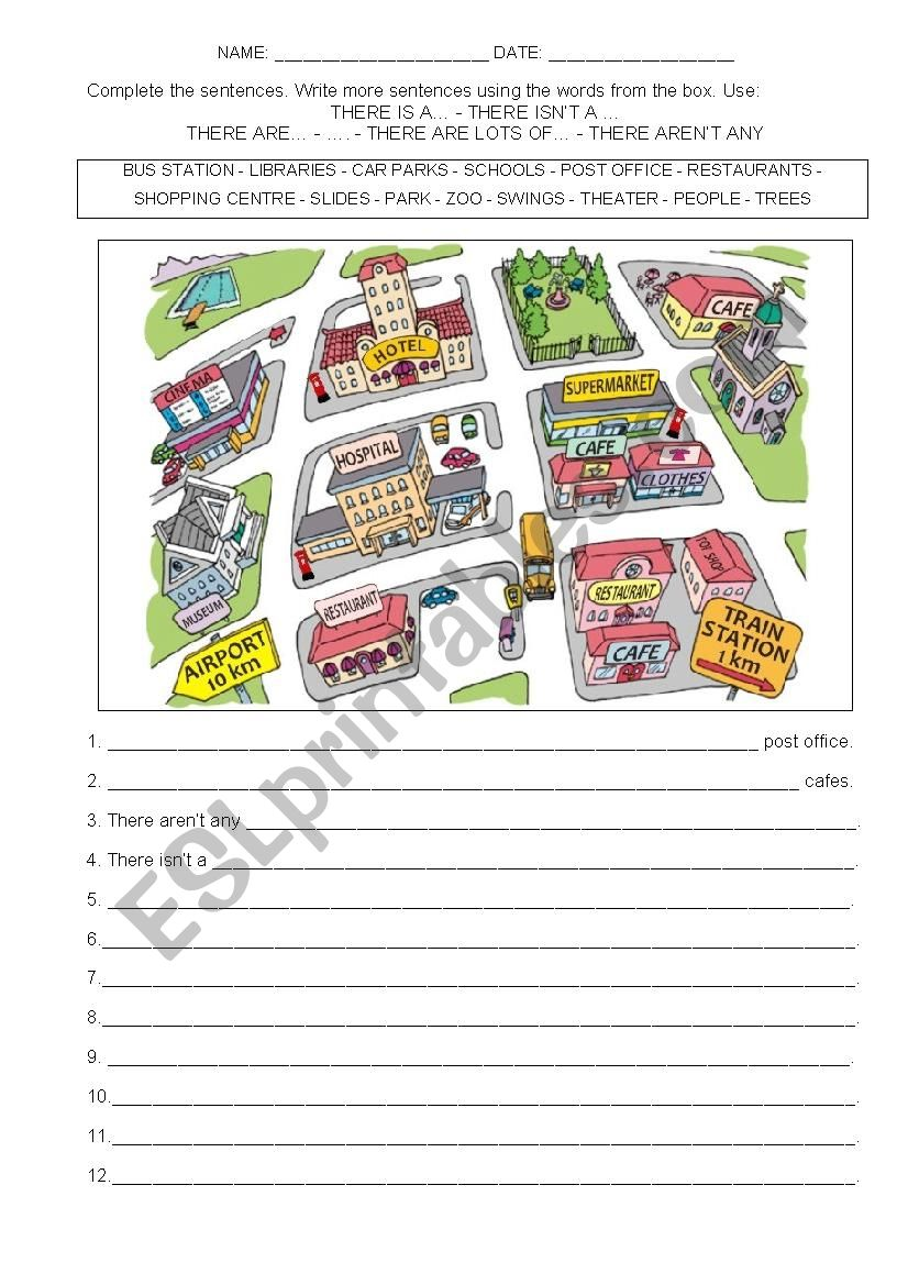 Places and there to be worksheet