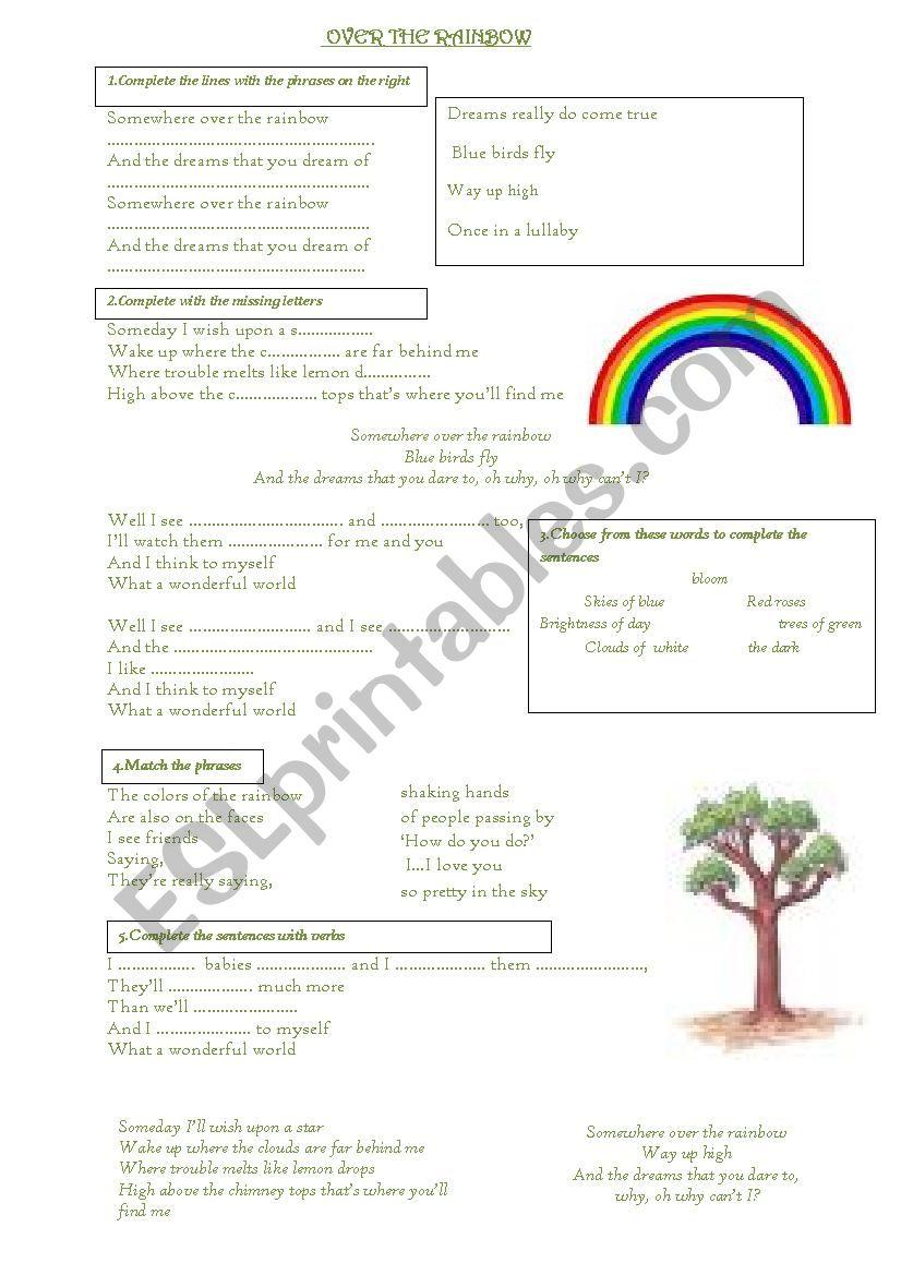 somewhere over the rainbow worksheet