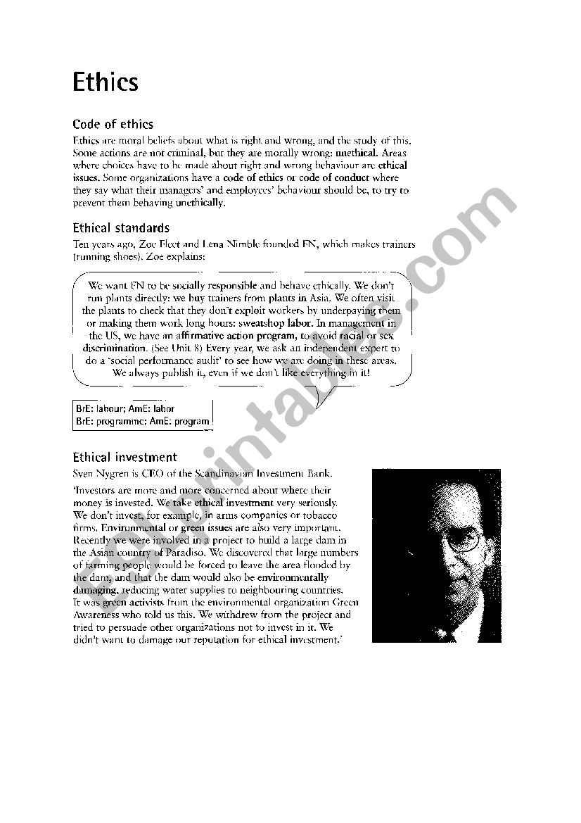 ethic vocab worksheet