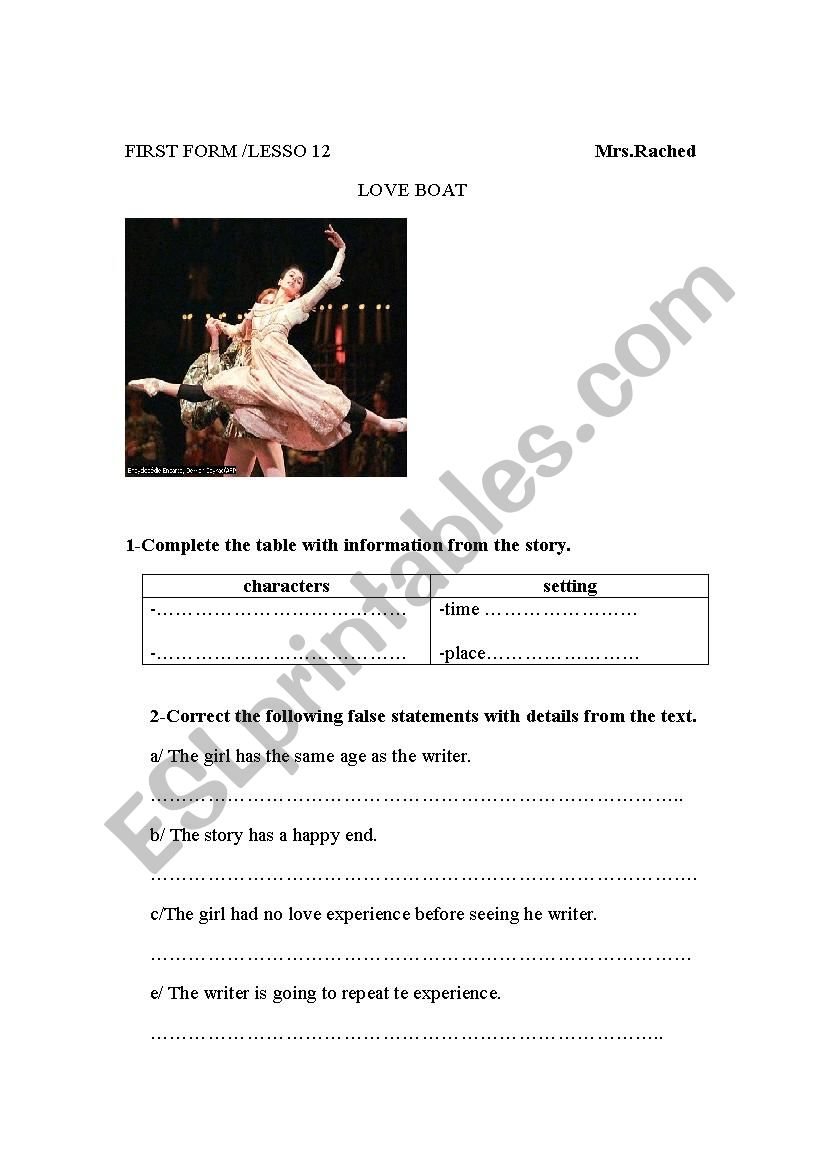 love boat/ first year  worksheet