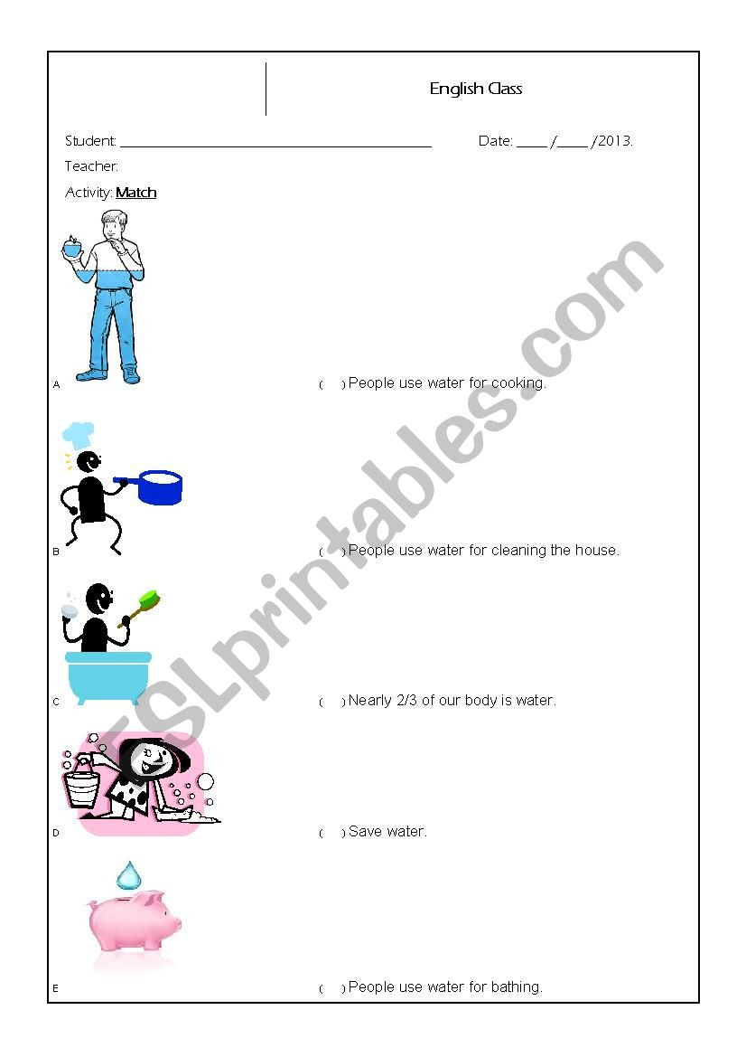 Activity Based On The Use Of Water Esl Worksheet By Faithingod