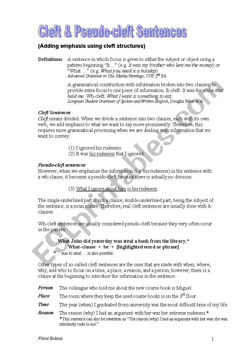 Cleft & Pseudo-cleft Sentences + Exercises + Key