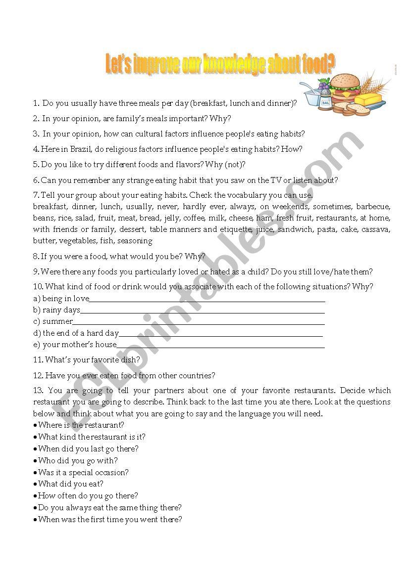 Food Conversation worksheet