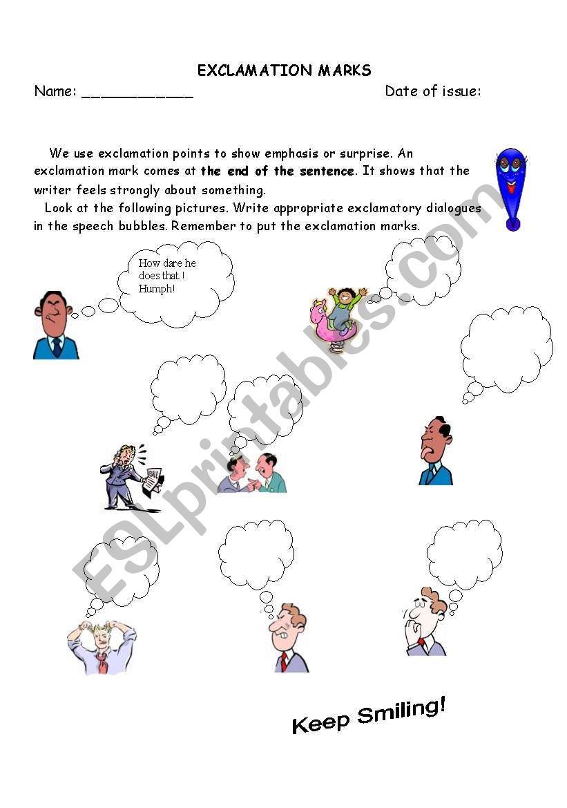 Exclamation Mark worksheet