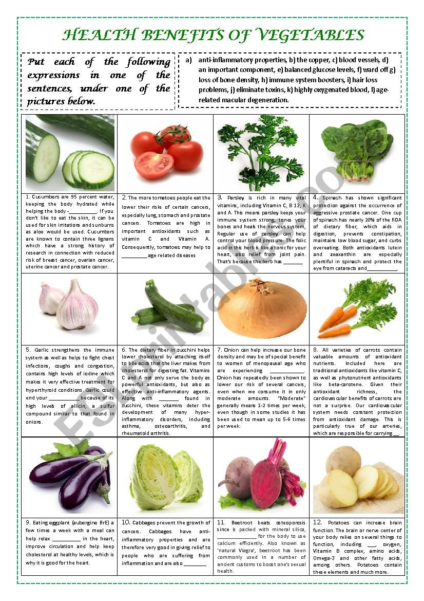 health benefits of vegetables part 1 (plus key) - esl