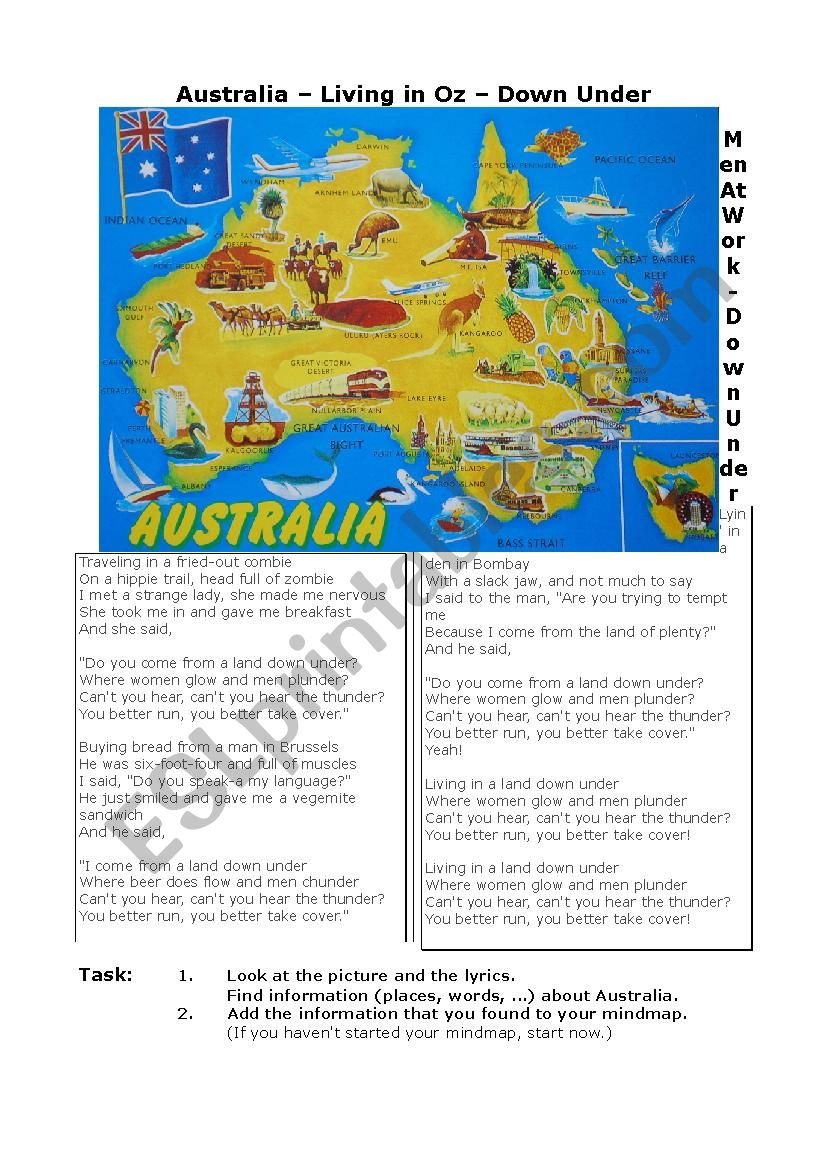 Australia Mindmap worksheet