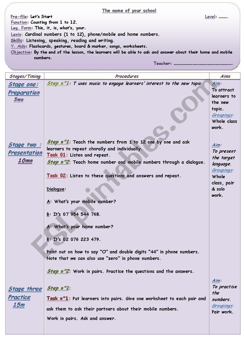 Numbers - lesson Plan worksheet