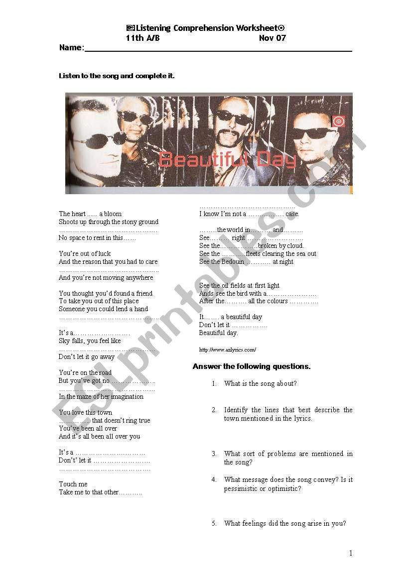 It´s a beautiful day -U2 - ESL worksheet by migaspot