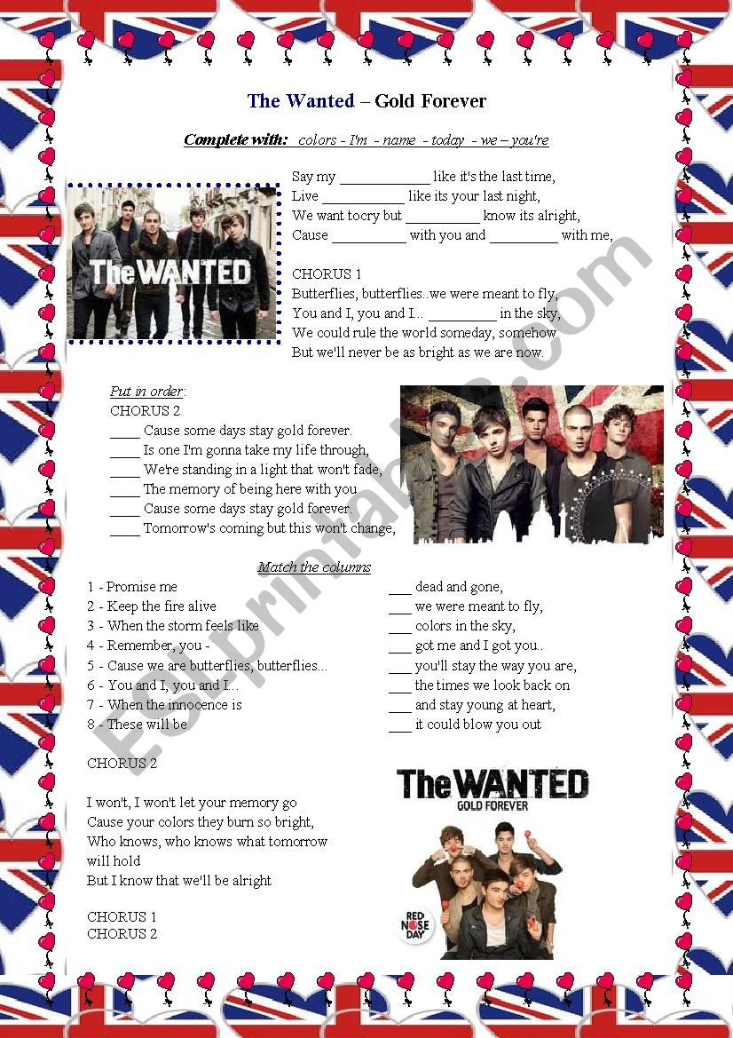 The Wanted Gold Forever worksheet