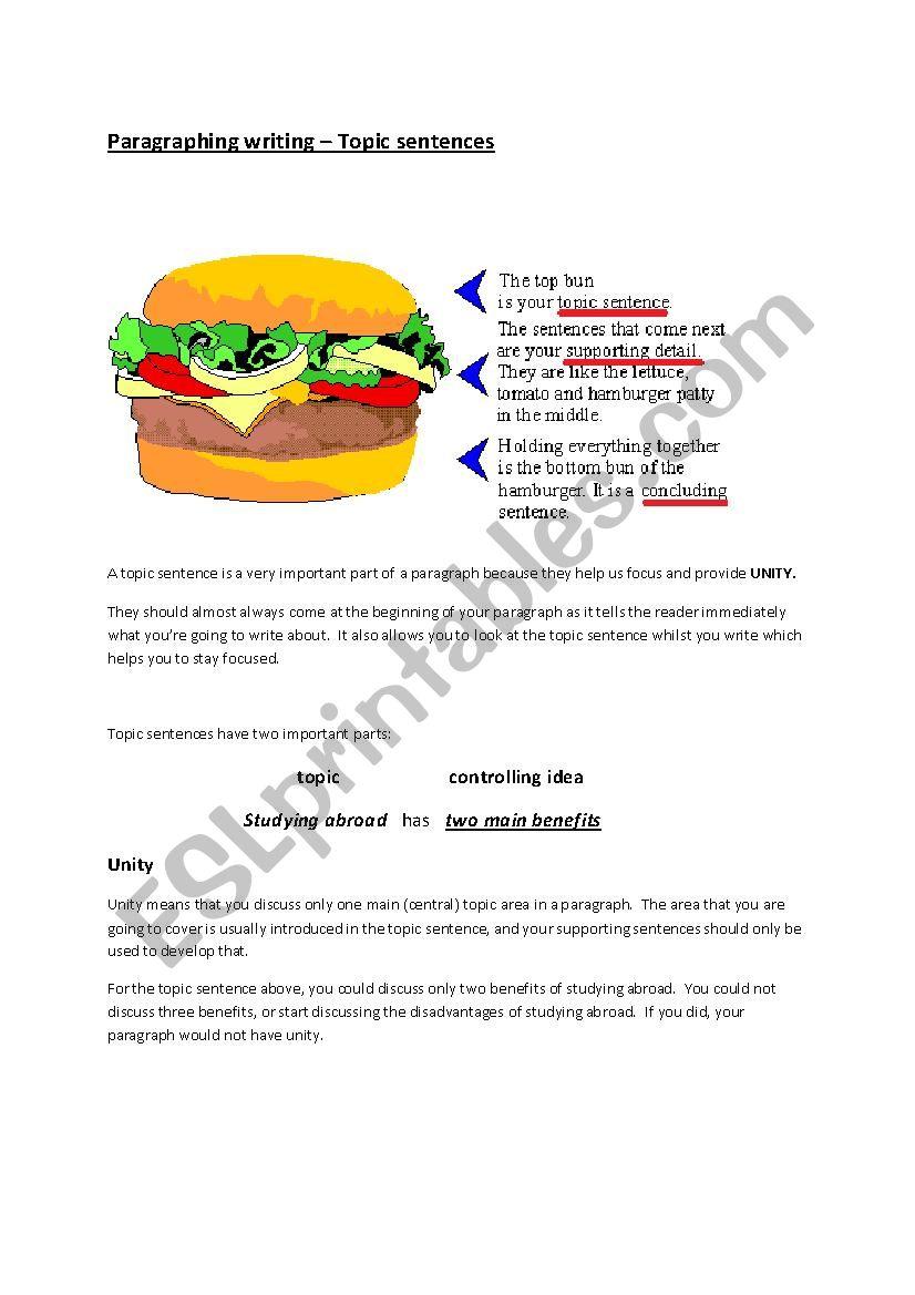 Topic sentences - Ielts worksheet