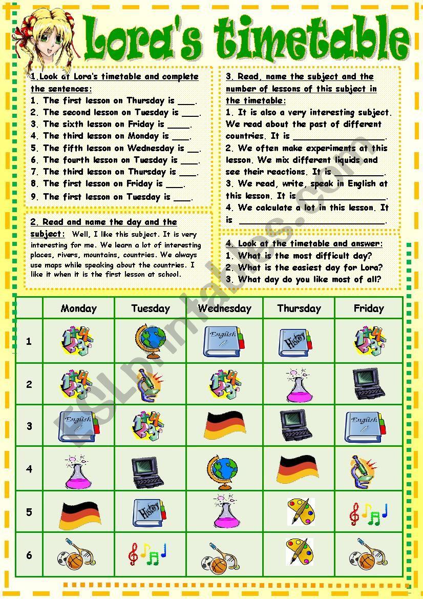 Lora´s timetable worksheet