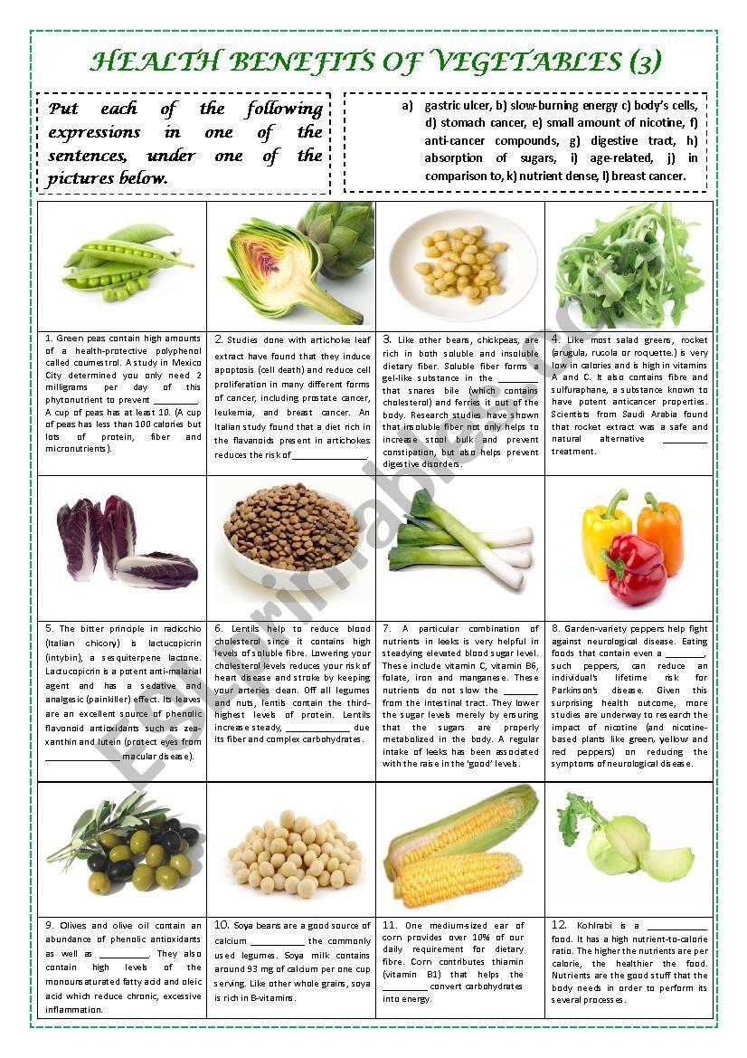 health benefits of vegetables part 3 (plus key) - esl