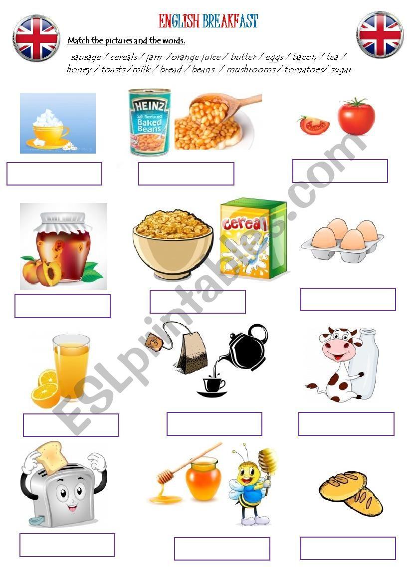 English breakfast worksheet