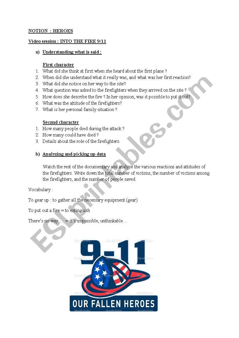 9/11 firefighters worksheet