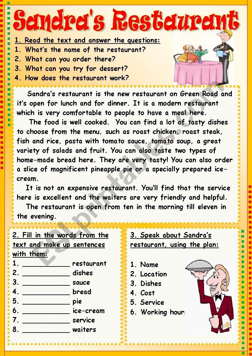 Sandra´s Restaurant worksheet