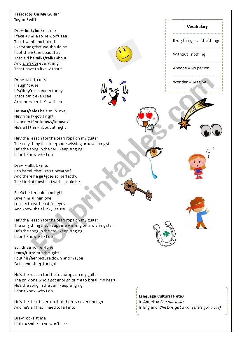 Teardrops on Present Simple worksheet