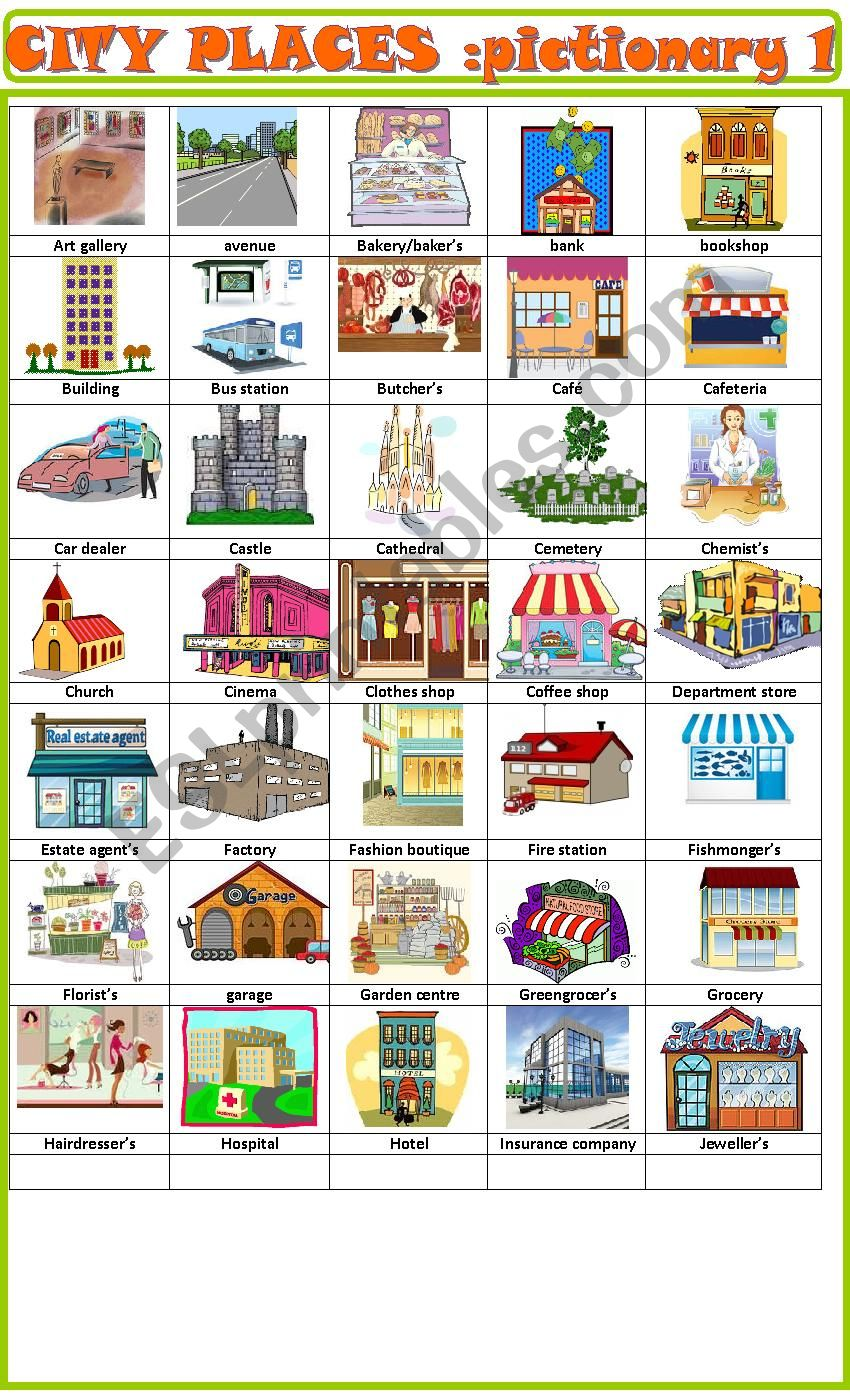 City places:pictionary 1 worksheet