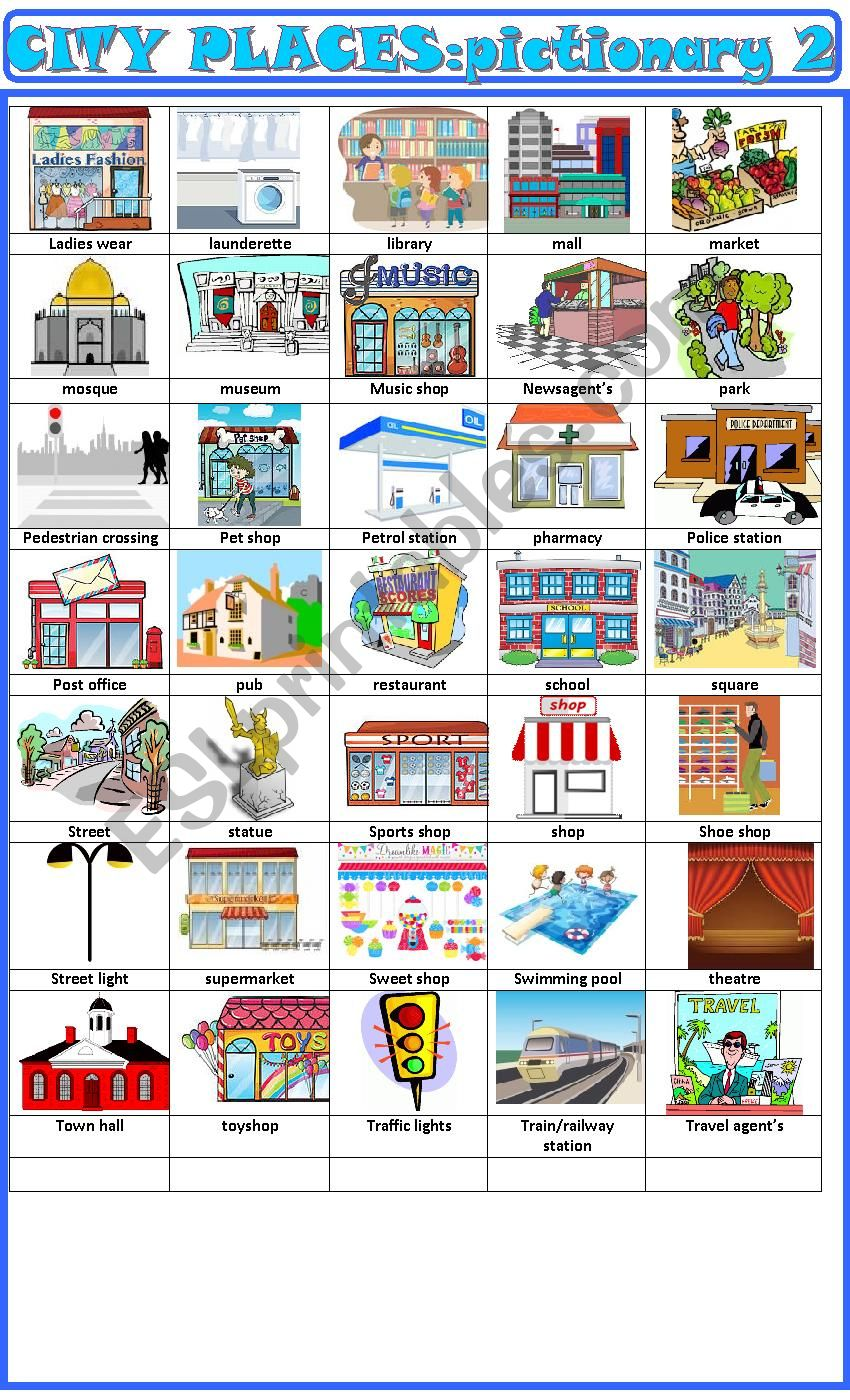 City places:pictionary 2 worksheet