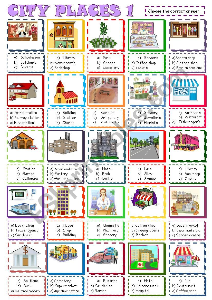 City places:Multiple choice 1 worksheet