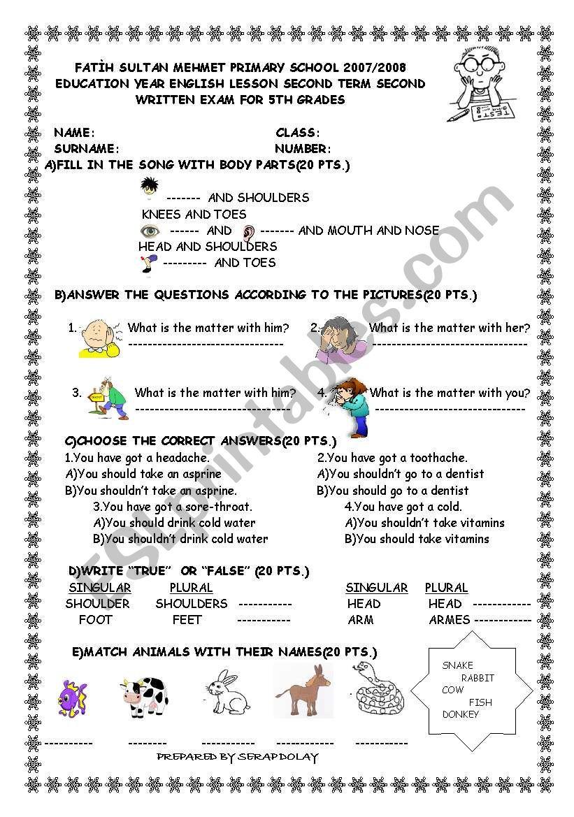EXAM FOR 5TH GRADES worksheet