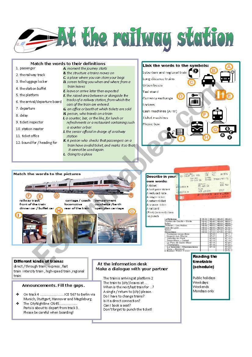 AT the railway station - ESL worksheet by fuchur