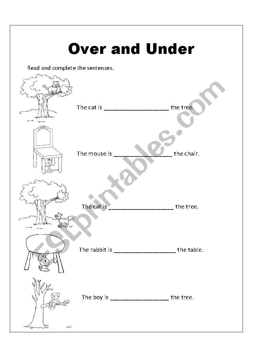 OVER AND UNDER worksheet
