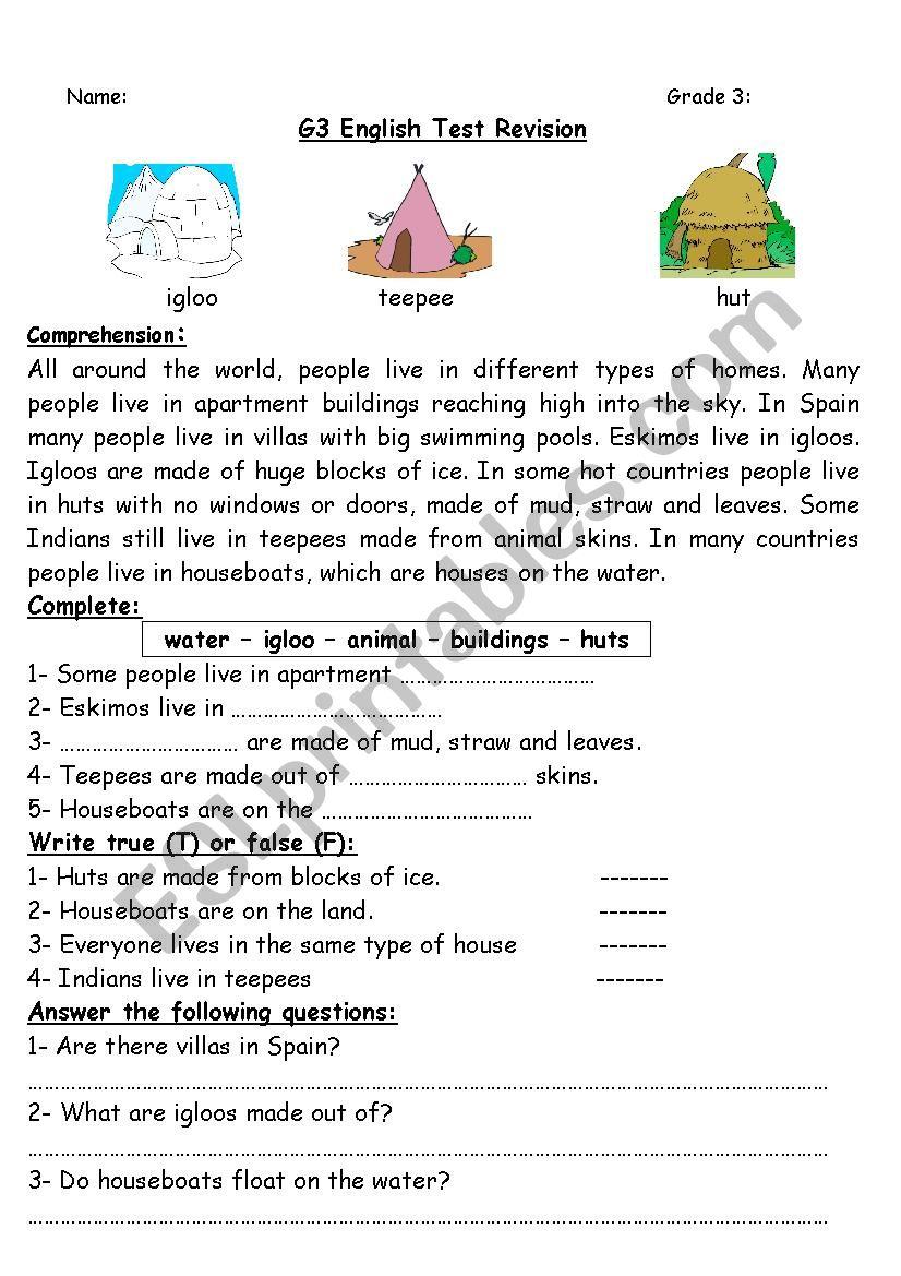 - Grade 3 Test Revision 2 - ESL Worksheet By Sokar