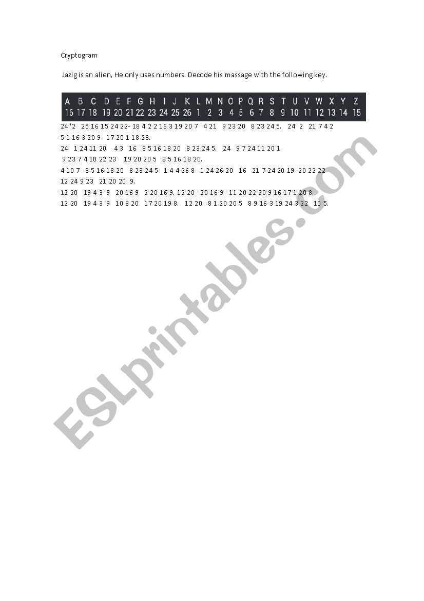 image regarding Cryptogram Puzzles Printable known as Alien cryptogram puzzles - ESL worksheet as a result of nautilus909