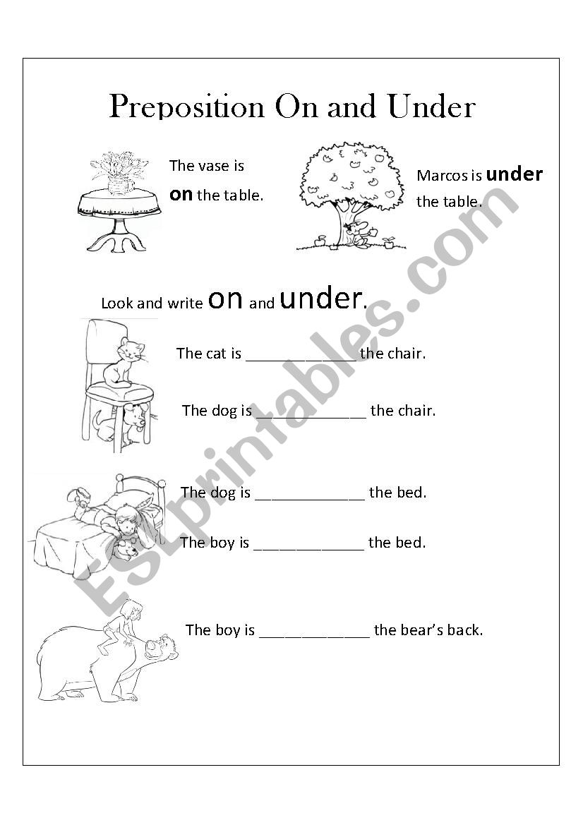 ON AND UNDER worksheet
