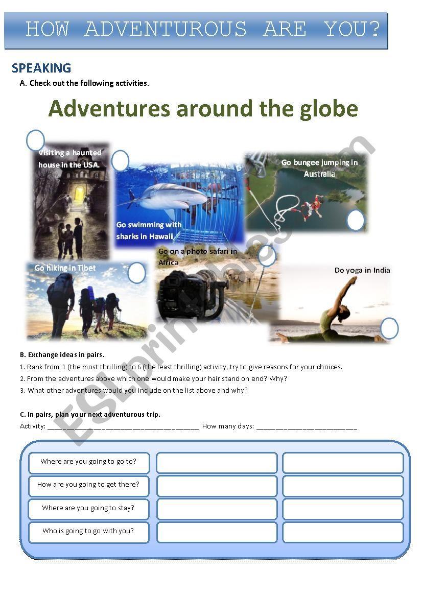 Adventures around the globe worksheet