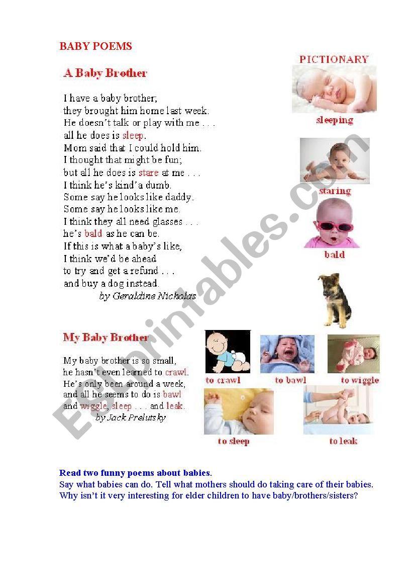 BABY POEMS worksheet