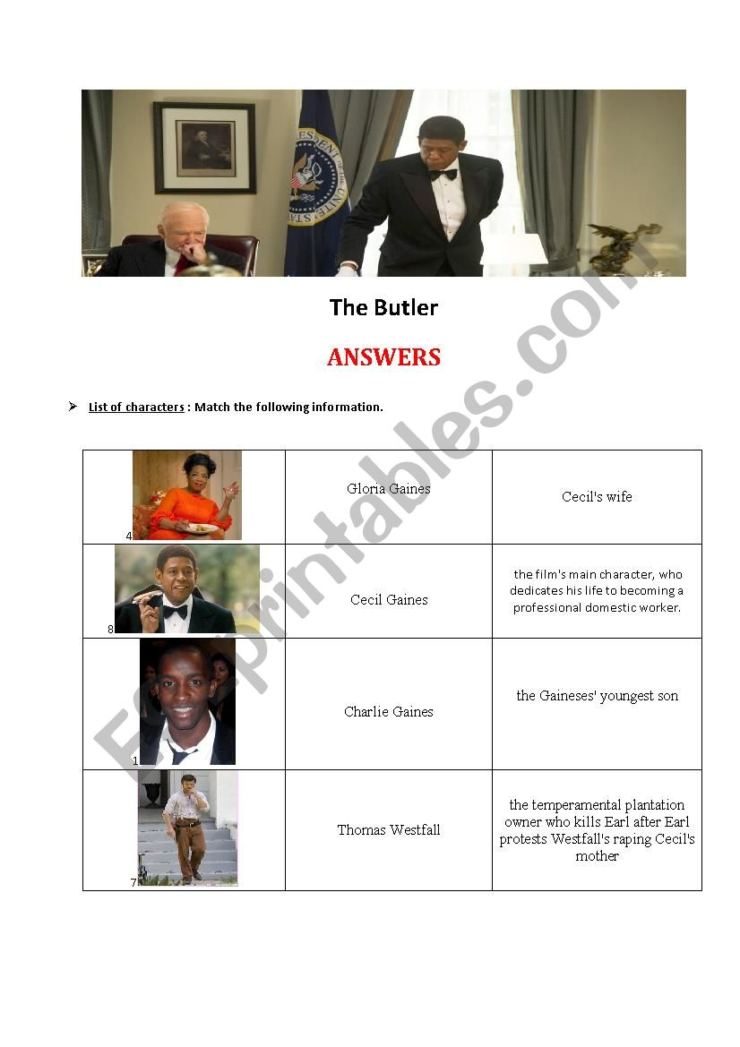 The Butler PART 2- Answers worksheet