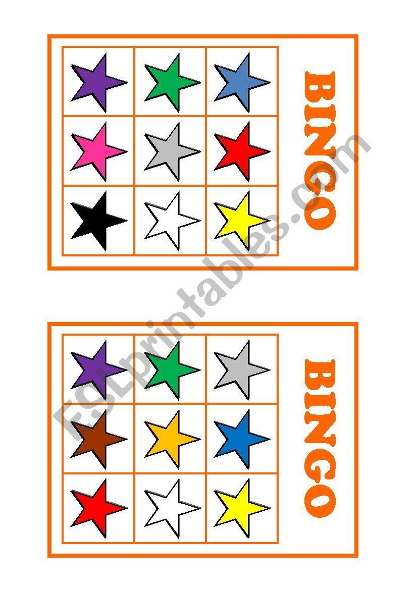 Colour bingo worksheet