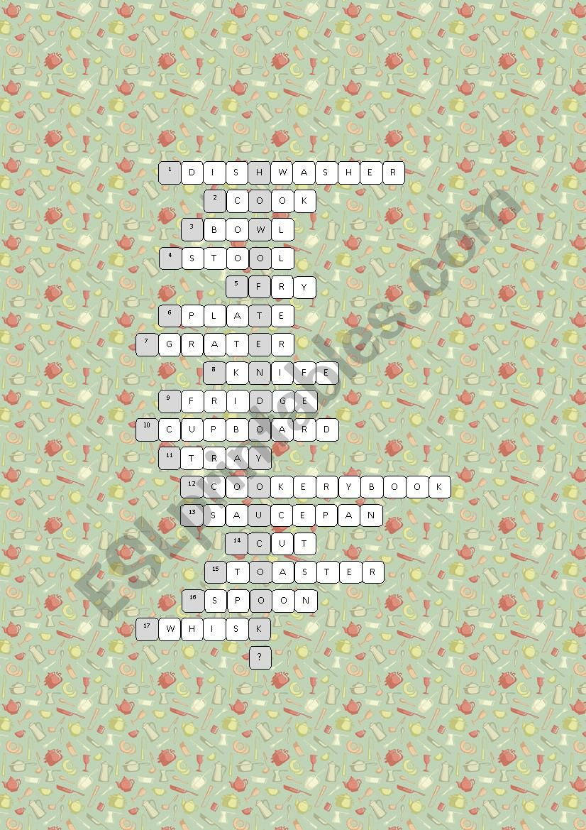 Kitchen Crossword Puzzle Esl Worksheet By Kissnetothedit