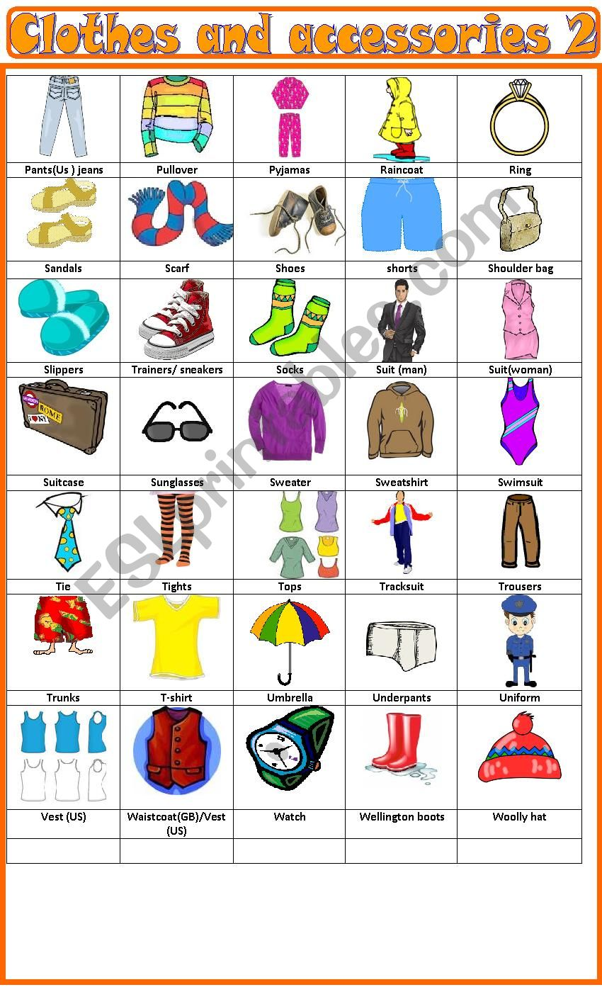 Clothes and accessories, pictionary 2