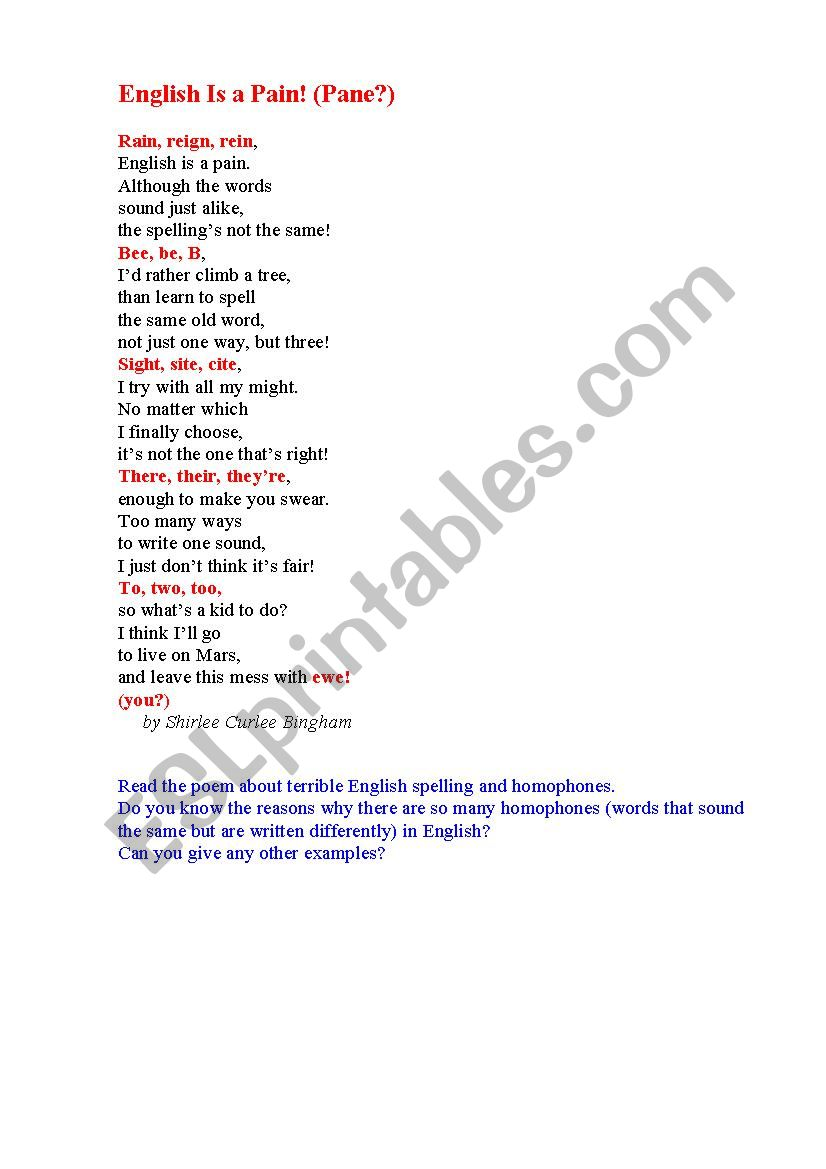 Poem On English Spelling Esl Worksheet By Korova Daisy Poetry is one of the great ways of teaching kids. english spelling esl worksheet