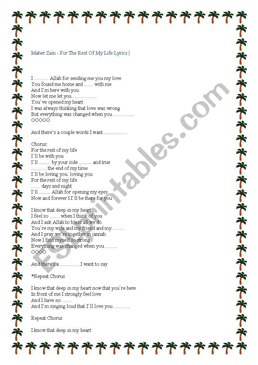 song - ESL worksheet by mariamb
