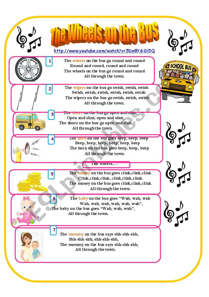 The wheels on the bus song worksheet
