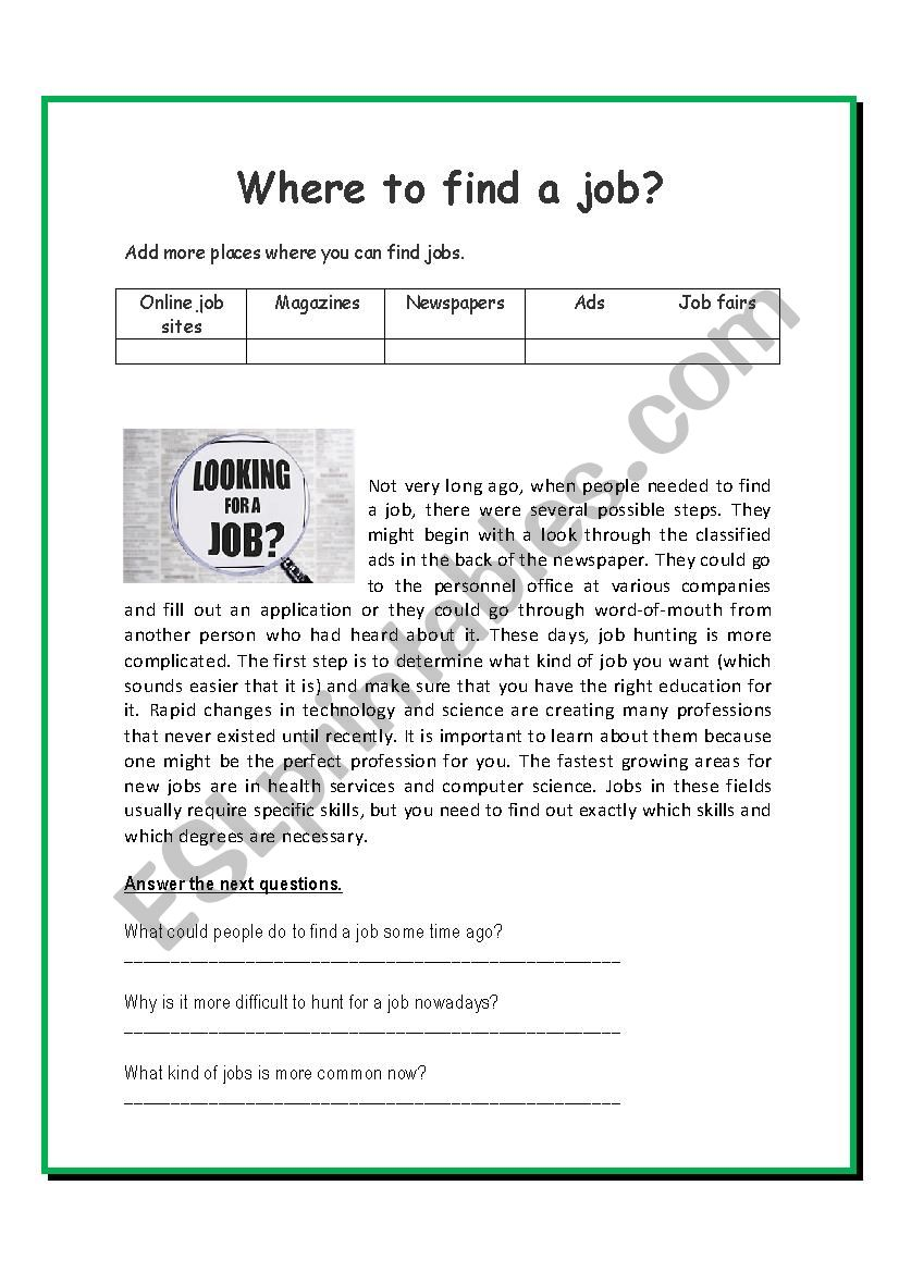 Where to find a job? - ESL worksheet by Tattynaranjo