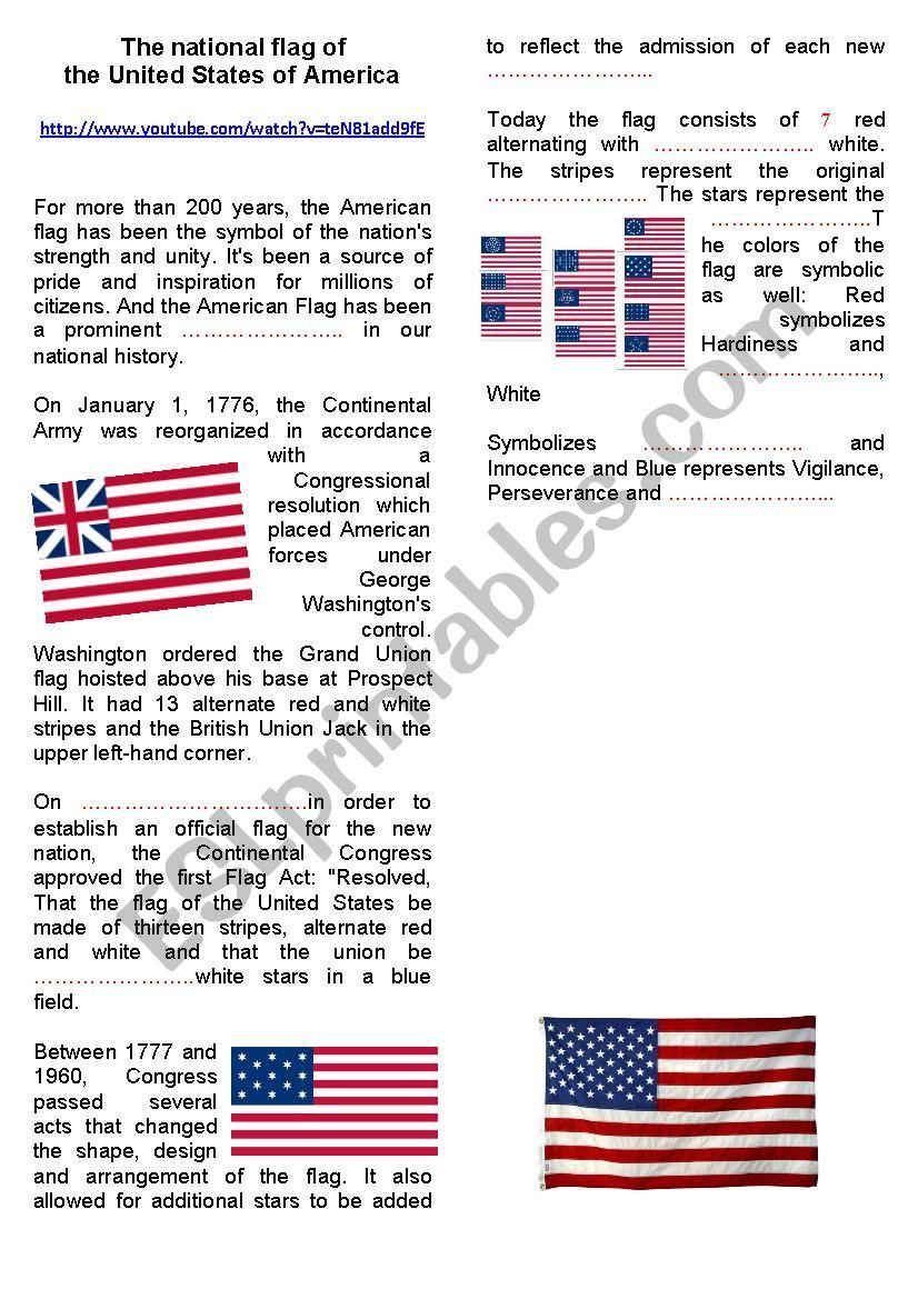 The American flag worksheet