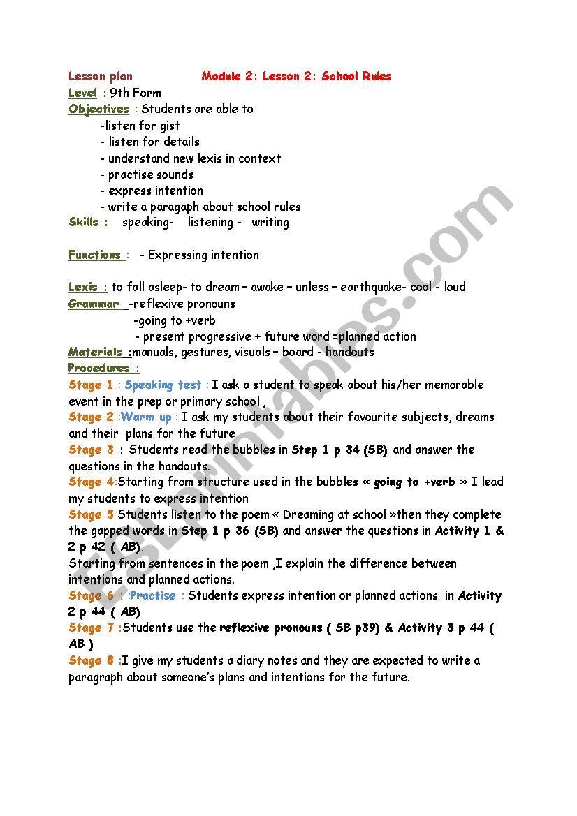 Module 2/ Lesson 2: School rules 9th form - ESL worksheet by